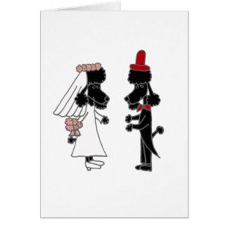 Lustige Pudel-Braut-und Bräutigam-Hochzeit Karte