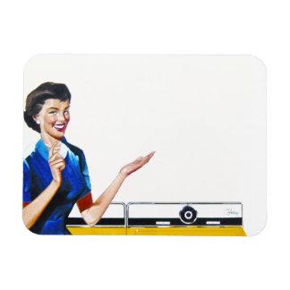 Lustige Retro Hausfrau mit Waschmaschine Magnete