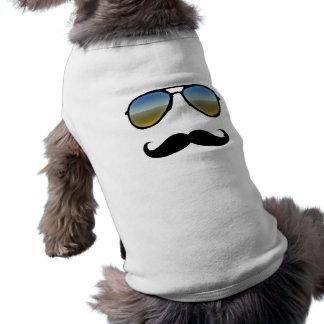 Lustige Retro Sonnenbrille mit dem Schnurrbart Ärmelfreies Hunde-Shirt