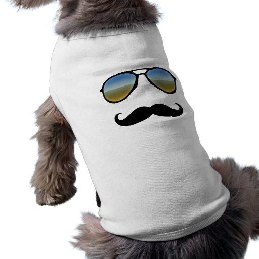 Lustige Retro Sonnenbrille mit dem Schnurrbart Haustierkleidung