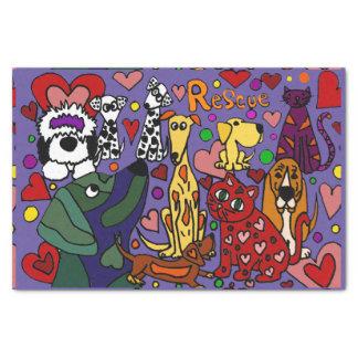 Lustige Rettungs-Hunde-und Katzen-Liebe abstrakt Seidenpapier