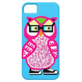 Lustige rosa Hipster-Eule blauer iPhone 5 Kasten iPhone 5 Schutzhülle