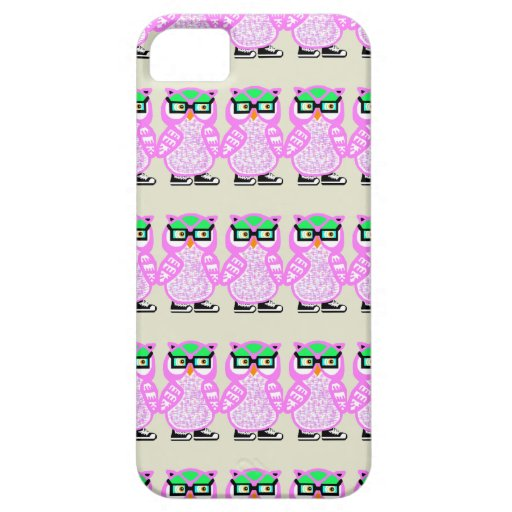 Lustige rosa Hipster-Eule kakifarbiger iPhone Fall iPhone 5 Schutzhüllen