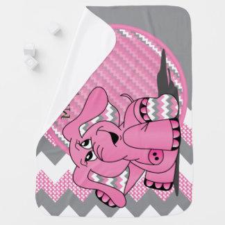 Lustige rosa Zickzack Elefant-Baby-Decke Puckdecke