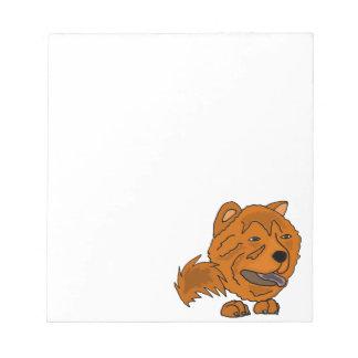Lustige rote Chow-Chow-Hundekunst Notizblock