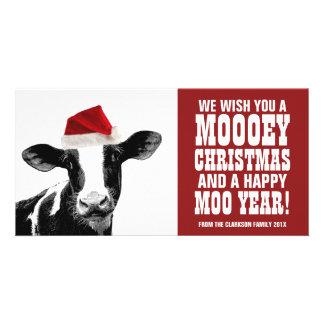 Lustige Sankt-Kuh Mooey Weihnachtsmolkerei Fotokarte