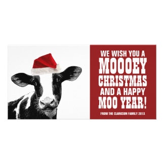 Lustige Sankt-Kuh Mooey Weihnachtsmolkerei Photo Grußkarte