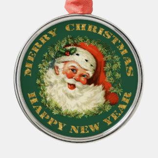 Lustige Sankt und Kranz Rundes Silberfarbenes Ornament