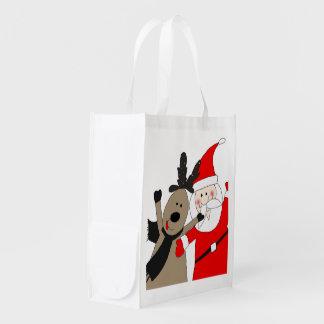Lustige Sankt und Ren #1 Wiederverwendbare Einkaufstasche