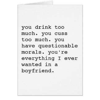 Lustige sarkastische Valentinstagkarte - Freund Karte