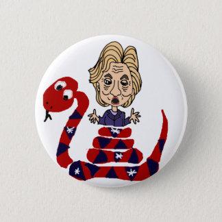 Lustige Schlange, die Hillary-Cartoon Runder Button 5,1 Cm