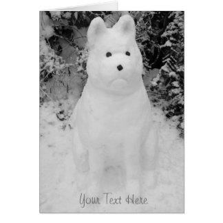 lustige Schneeakita-Schneemannweihnachtsphotograph Karten