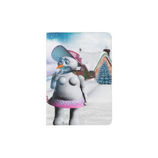 Lustige Schneemann- und Schneefrauen Passhülle