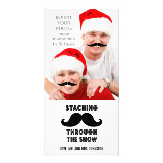 Lustige Schnurrbart-WeihnachtsFoto-Karte Bildkarten