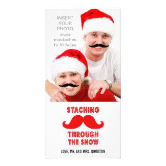 Lustige Schnurrbart-WeihnachtsFoto-Karte Individuelle Photo Karten