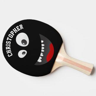 Lustige schwarze beängstigende tischtennis schläger