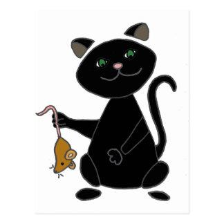 Lustige schwarze Katze, die Brown-Maus hält Postkarte