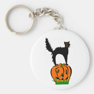 Lustige schwarze Katze und Kürbis Schlüsselanhänger