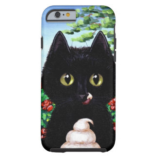 Lustige schwarze Katzen-Eiscreme Creationarts Tough iPhone 6 Hülle