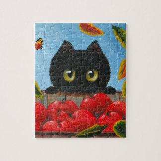 Lustige schwarze Katzen-rote Äpfel Creationarts Puzzle