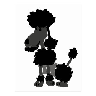 Lustige schwarze Pudel-Kunst-Vorlage Postkarte
