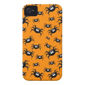 lustige schwarze Spinnen des Cartoon über gelbem iPhone 4 Hüllen
