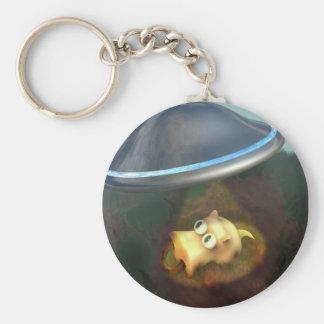 Lustige Schwein UFO-Abduktion Keychain Standard Runder Schlüsselanhänger