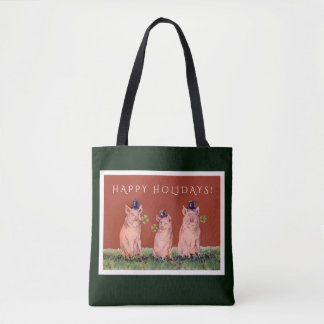 Lustige Schweine, die Zylinder-Feiertags-Tasche Tasche