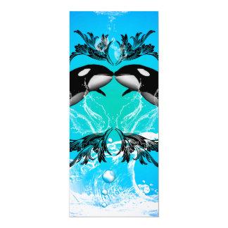 Lustige Schwertwale mit Wasserspritzen 10,2 X 23,5 Cm Einladungskarte