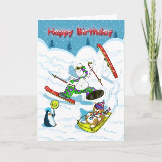 Lustige Skifahren Geburtstagskarte Bonze U Karte Zazzle