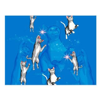 Lustige spielende Cartoonkatzen Postkarten