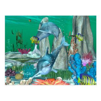 Lustige spielende Delphine mit anderen Fischen Postkarte