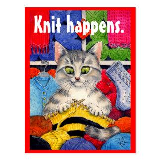 Lustige strickende Miezekatzepostkarte Postkarten