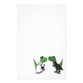 Lustige T-rex Dinosaurier-Braut-und Briefpapier