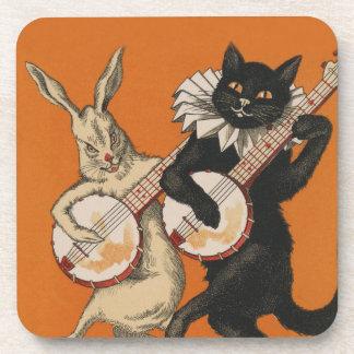 Lustige TierUntersetzer - schwarze Katze und Untersetzer