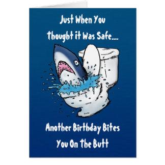 Lustige Toiletten-Haifisch-Geburtstags-Karte Karte