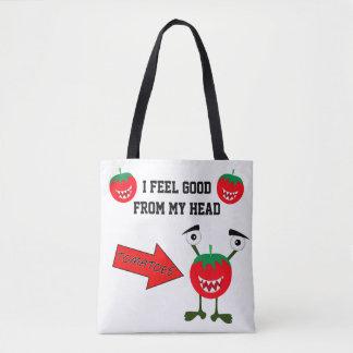 Lustige Tomatemonsterfrucht mit Zitaten Tasche