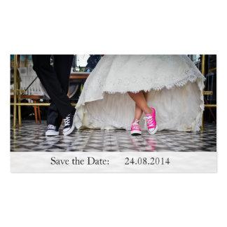 Lustige Turnschuhe Save the Date, die Visitenkarten