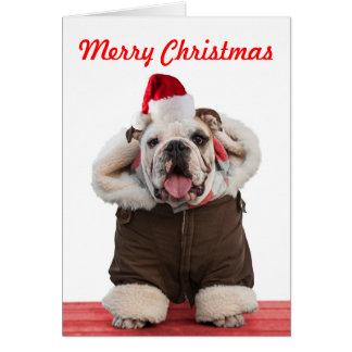 Lustige und niedliche Bulldoggen-Weihnachtskarten Karte