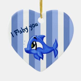 Lustige und niedliche Delphin-Cartoonillustration Keramik Herz-Ornament