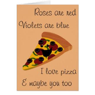 Lustige Valentinsgruß-Pizza Karte