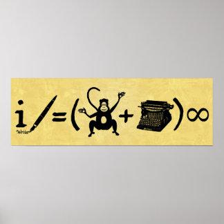 Lustige Verfasser-Affe-Schreibmaschinen-Gleichung Poster
