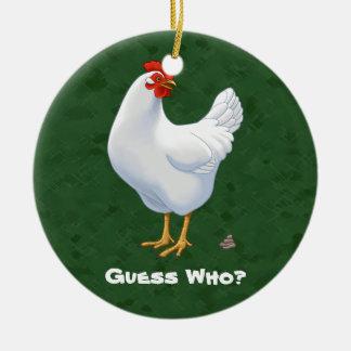 Lustige Vermutung die Huhn Poo Weiß-Henne Keramik Ornament