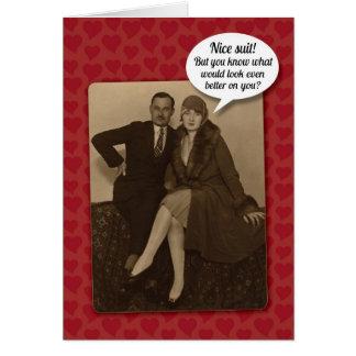 Lustige Vintage andeutende Karte des Valentines Ta