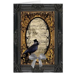 Lustige Vintage gotische Hochzeitskrähe Karte
