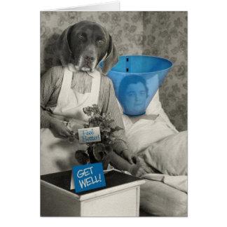 Lustige Vintage Hundekrankenschwester erhalten woh Grußkarten