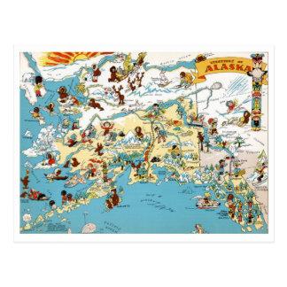 Lustige Vintage Karte Alaskas