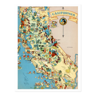 Lustige Vintage Karte Kaliforniens