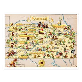 Lustige Vintage Karte Kansas