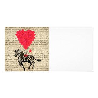 Lustige Vintage Zebra- u. Herzballone Photokarten